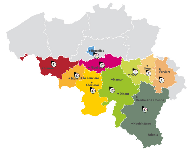 Carte Belgique Enseignement.Walstat Bassins Efe